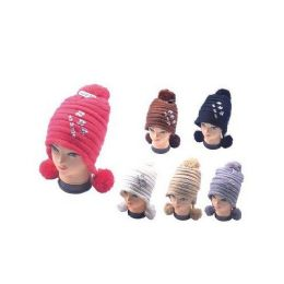 36 Bulk Winter Warm Hat With 3 Pom Poms