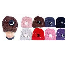 60 Bulk Ladies Knit Hat With Flower