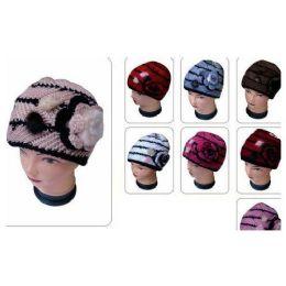60 Bulk Ladies Knit Hat With Flower
