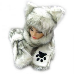 36 Bulk Winter Animal Hat With Hand Warmer And Paws