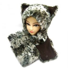 36 Bulk Winter Animal Hat With Hand Warmer