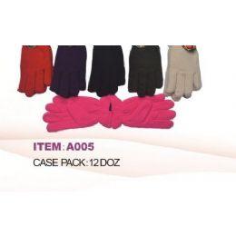 60 Bulk Ladies Fleece Winter Gloves Asst Colors