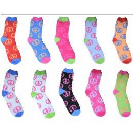 240 Bulk Neon Peace Fuzzy Sock Size 9-11