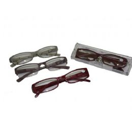 144 Bulk Assorted Color Plastic Reading Glasses With Case
