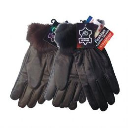 48 Bulk Winter Glove Genuine Leather Women W/ Fur Cuff