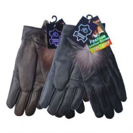 24 Bulk Winter Glove Genuine Leather Women W/ Feather