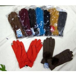 48 Bulk Ladies Touch Screen Winter Glove With Pom Pom
