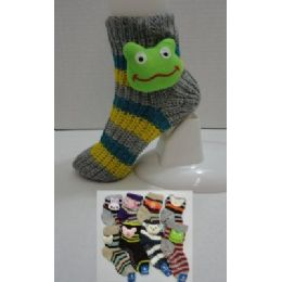 144 Bulk Knit NoN-Slip Striped Booty Socks With Characters 9-11