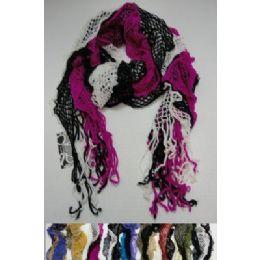 72 Bulk ThreE-Colored Ruffled Knitted Fashion Scarf
