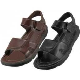 24 Bulk Men's Pu. Leather Upper Velcro Sandals
