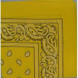48 Bulk BandanA-Yellow Paisley