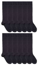 36 Bulk Yacht & Smith Womens Knee High Socks, Size 9-11 Solid Navy