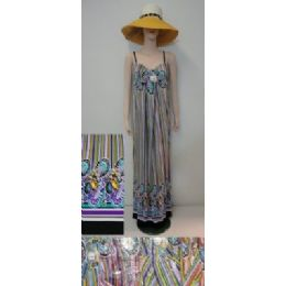 72 Bulk Beach Dress [long]-Vertical Stripes/paisley