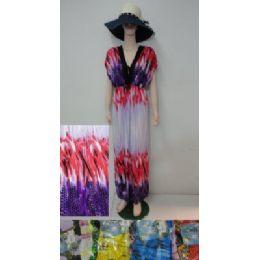 24 Bulk Beach Dress [long]-Color Streak/cheetah Print