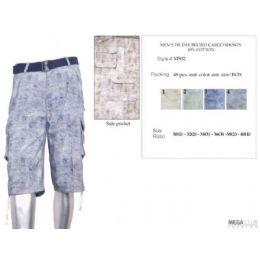 48 Bulk Mens Tye Dye Color Cotton Blend Cargo Shorts