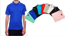 24 Bulk Mens Solid Polo Shirt Jersey Fabric S-xl