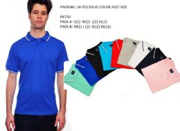 24 Bulk Mens Solid Polo Shirt Jersey Fabric M-Xxl