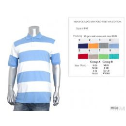 36 Bulk Mens Cut & Saw Wide Stripe Polo Shirt M-Xxl
