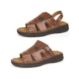 12 Bulk Men's Pu Fishermen Brown Sandals