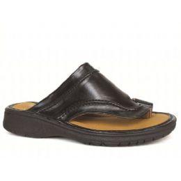 12 Bulk Men's Pu Fishermen Black Sandals