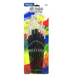 72 Bulk Bazic Asst. Size Oil Paint Brush Set (9/pack)