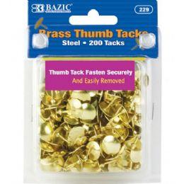 48 Bulk Bazic Brass (gold) Thumb Tack (200/pack)