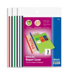 48 Bulk Bazic Clear Front Report Covers W/ Sliding Bar (3/pack)