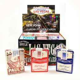 36 Bulk Assorted Used Las Vegas Casino Playing Card W/ Pdq Display