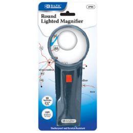 "48 Bulk Bazic 2.5"" Round 3x Lighted Magnifier"