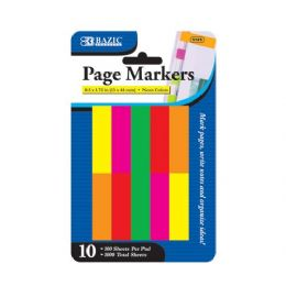 """24 Bulk Bazic 100 Ct. 0.5"""" X 1.75"""" Neon Page Marker (10/pack)"""
