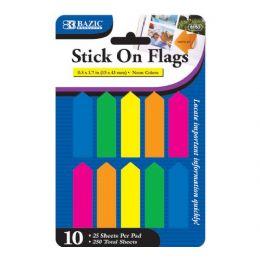 """48 Bulk Bazic 25 Ct. 0.5"""" X 1.7"""" Neon Color Arrow Flags (10/pack)"""