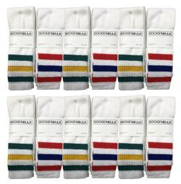 60 Bulk Yacht & Smith Men's Cotton Tube Socks, Referee Style, Size 10-13 White With Stripes