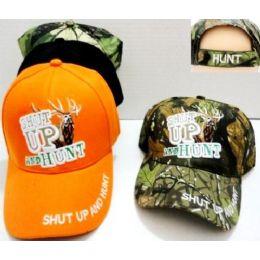 48 Bulk Hunting Baseball Hats Shut Up And Hunt Buck Design