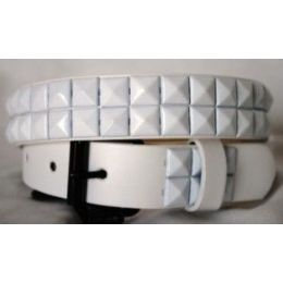 48 Bulk Kids Belts White Studs On White Belts