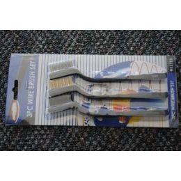 """48 Bulk 12 Pcs Of 3pc 7"""" Mini Wire Brush SeT-Black Handle"""