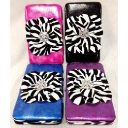 12 Bulk Zebra Print Rhinestone Flower Fashion Wallets Assorted
