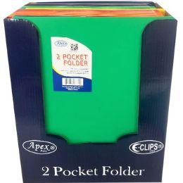 "48 Bulk Plastic Neon 2 Pocket Folders - 9.5"" X 11.5"""
