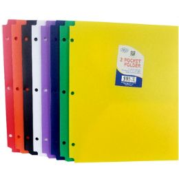 60 Bulk Snap In Plastic 2 Pocket Folders - Assorted Colors