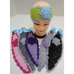 48 Bulk Loose Knitted Sparkle Ear Band With Flower & Fur