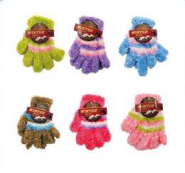 144 Bulk Children's Striped Stretch Fuzzy Gloves