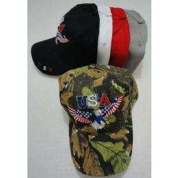24 Bulk Usa Eagle Hat With Flag Wings