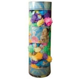 144 Bulk Viva 45 Gr. Exfoliating Bath Sponge W/ Suction Cup In Round Canister Display (assorted Colors