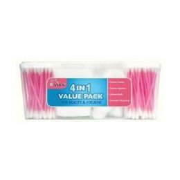 96 Bulk 4 In 1 Cotton Swabs And Squares Family Pack