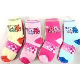 96 Bulk Bear Girl Socks Size 4-6 & 6-8 Assorted Colors