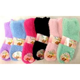 96 Bulk Girls Babys Fuzzy Socks Size 4-6 Solid Colors