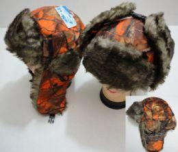 12 Bulk Aviator Hat With Fur Trim, Orange Camo