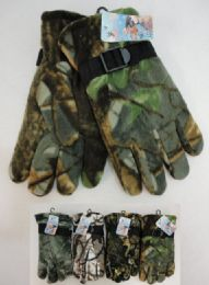 24 Bulk Men's Hardwood Camo Fleece Gloves
