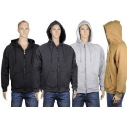 24 Bulk Mens Thermal Zip Front Jacket With Sherpa Lining. Black Only