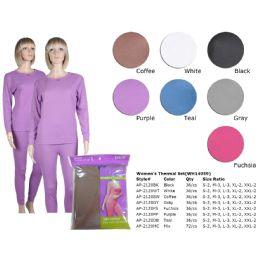 72 Bulk Ladies Thermal Set Teal Asst Colors Sizes S-2xl