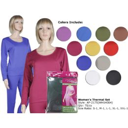 72 Bulk Ladies Ultra Soft Microfiber Fleece Lined Thermal Sets